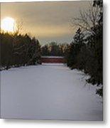 Sachs Covered Bridge At Sunrise In Winter Metal Print