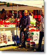 Sacks Of Potatoes Red Pepper Pots Tomato Baskets Marche Jean Talon Montreal Scenes Carole Spandau Metal Print