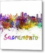 Sacramento Skyline In Watercolor Metal Print
