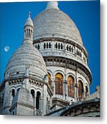 Sacre-coeur And Moon Metal Print