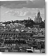 Sacre Coeur Over Rooftops Black And White Version Metal Print