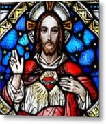 Sacred Heart Of Jesus In Stained Glass Metal Print