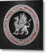 Sacred Silver Griffin On Black Leather Metal Print