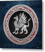 Sacred Silver Griffin On Blue Leather Metal Print