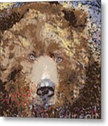 Sad Brown Bear Metal Print