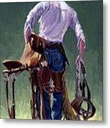 Saddle Bronc Rider Metal Print by Randy Follis