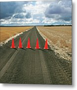 Safety Cones Lined Up Across A Rural Metal Print