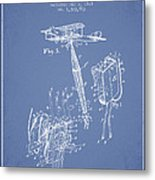 Safety Parachute Patent From 1919 - Light Blue Metal Print