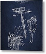 Safety Parachute Patent From 1919 - Navy Blue Metal Print