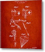Safety Parachute Patent From 1925 - Red Metal Print