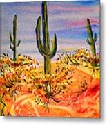 Saguaro Cactus Desert Landscape Metal Print