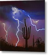 Saguaro Lightning Nature Fine Art Photograph Metal Print