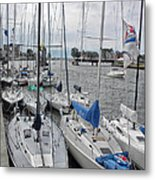 Sail Boats Docked For The Night Metal Print
