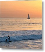 Sailboats And Surfers Metal Print