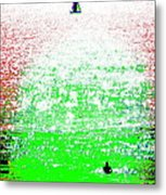 Sailboat And Swimmer -- 2a Metal Print by Brian D Meredith