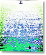 Sailboat And Swimmer -- 2b Metal Print by Brian D Meredith