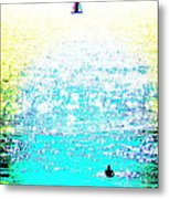 Sailboat And Swimmer -- 2c Metal Print by Brian D Meredith