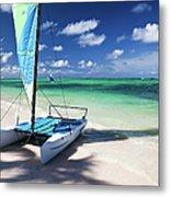 Sailboat At Caribbean Sea Metal Print