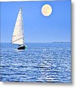Sailboat At Full Moon Metal Print by Elena Elisseeva