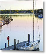 Sailboat At Sunrise Metal Print
