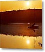 Sailboat At Sunrise Metal Print