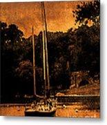 Sailboat By The Bridge Metal Print