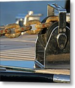 Sailboat Details Of Chain And Roller Metal Print by Juergen Roth