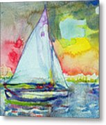 Sailboat Evening Wc On Paper Metal Print