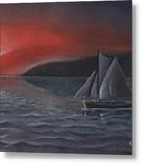Sailboat In Sunset Metal Print