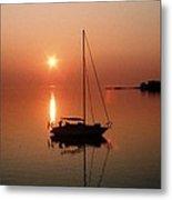 Sailboat In Sunset Metal Print