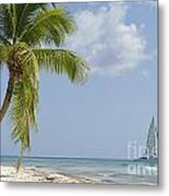 Sailboat Passing By Tropical Beach Metal Print by Sami Sarkis