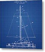 Sailboat Patent From 1932 - Blueprint Metal Print
