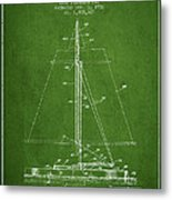 Sailboat Patent From 1932 - Green Metal Print