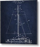 Sailboat Patent From 1932 - Navy Blue Metal Print