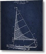 Sailboat Patent From 1962 - Navy Blue Metal Print