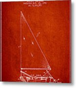 Sailboat Patent From 1991- Red Metal Print