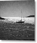 Sailboat And Islands In Maine Metal Print