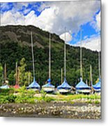 Sailboats At Glenridding In The Lake District Metal Print