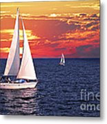 Sailboats At Sunset Metal Print by Elena Elisseeva