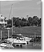 Sailboats Docked At North Myrtle Beach Mono Metal Print by John Rizzuto