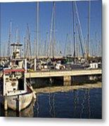 Sailboats In Badalona Marina Metal Print