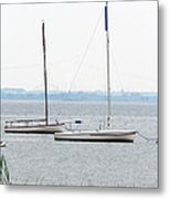 Sailboats In Battery Park Harbor Metal Print