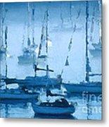 Sailboats In The Fog II Metal Print