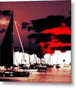 Sailboats In The Marina Surreal 2 Metal Print