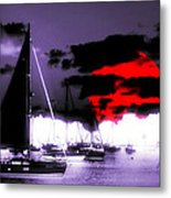 Sailboats In The Marina Surreal 3 Metal Print