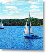 Sailboats In The Summer Metal Print