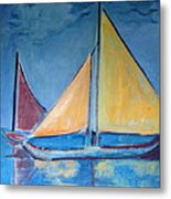 Sailboats With Red And Yellow Sails Metal Print