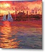 Sailboatsunset Metal Print