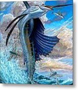 Sailfish And Flying Fish Metal Print by Terry Fox