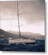 Sailing  And Stormy Weather Metal Print